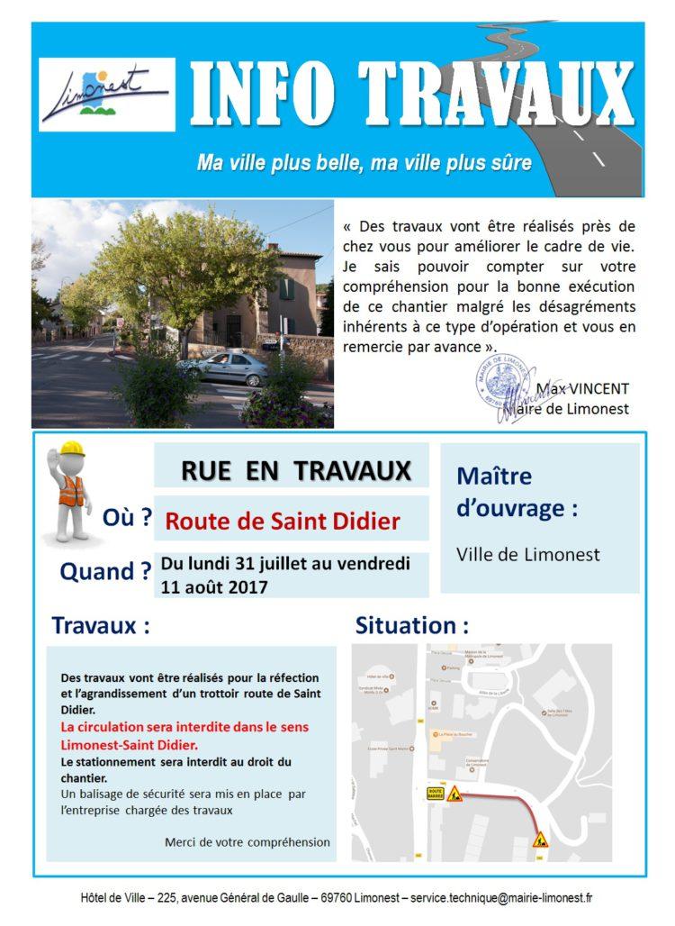 Travaux route de Saint Didier du 31 juillet au 11 août 2017 inclus