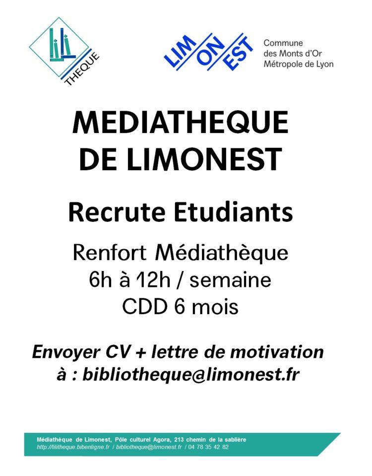 La Médiathèque de Limonest recrute